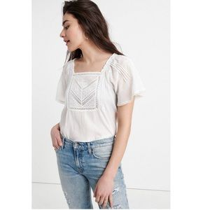 Lucky Brand Embroidered Flutter Sleeve Top NWT!